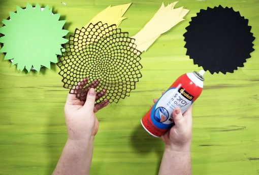 Attach the seed head to the underlay for your paper sunflower