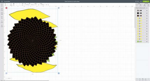 The paper sunflower SVG uploaded to Cricut Design Space