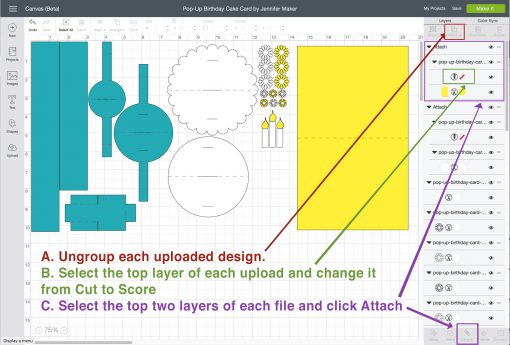 How to change cut lines to score lines in Design Space