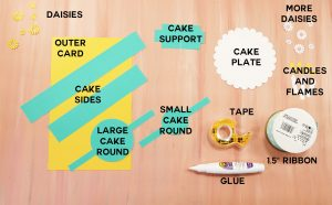 What you need to make a pop-up birthday cake card: cardstock, tape, glue, and ribbon