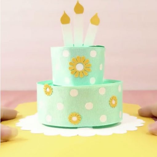 Pop-Up Ribbon Birthday Cake Card