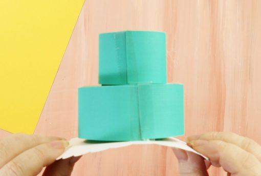 Tape the sides of your pop-up birthday cake card