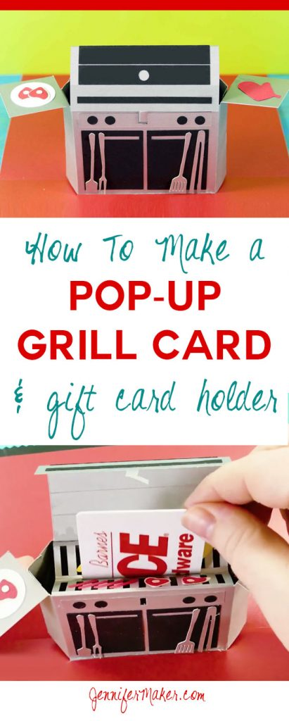 Make a Pop-Up Paper Grill Card & Gift Card Holder with free pattern, cut files, and tutorial