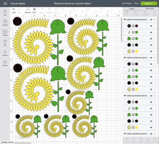 Uploading the rolled sunflower files to Cricut Design Space