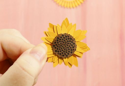 The rolled paper sunflower with the detailed seed head