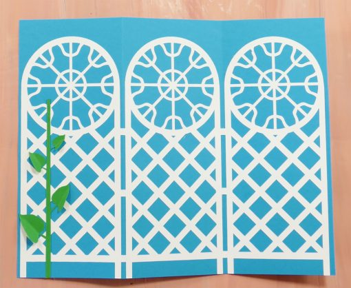 Fold the leaves for a more three dimensional look on the trellis tri-fold card