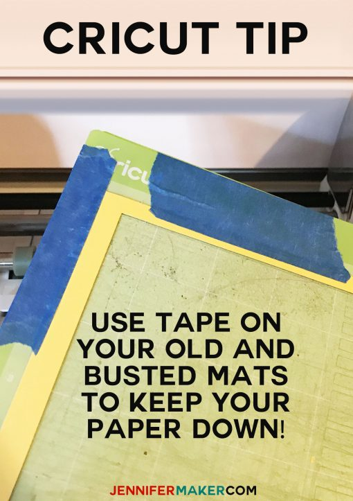 Use blue painter's tape on old mats to keep your paper from snagging | Cricut