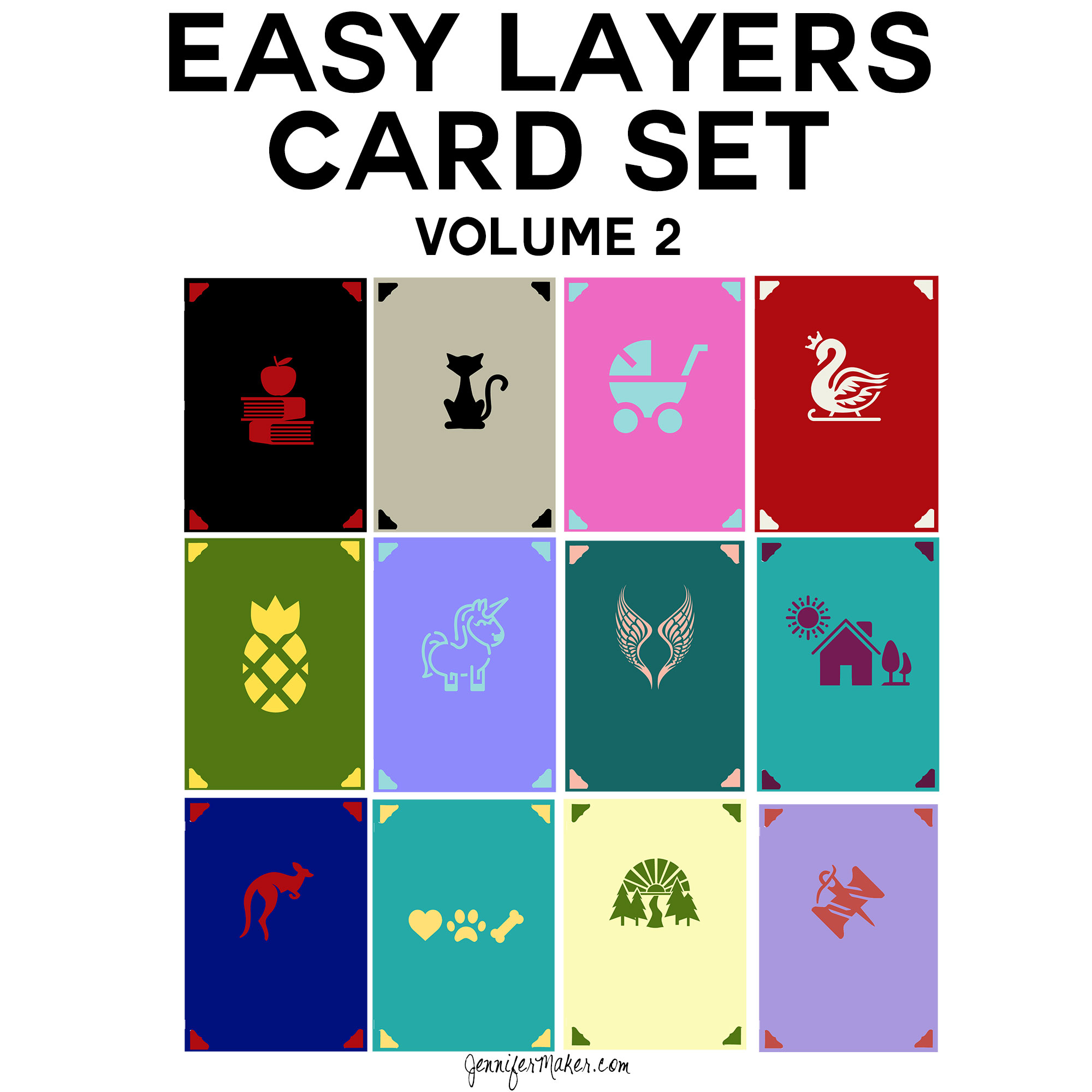 Easy Layers Card Set | Cricut Beginners | Free SVG Files