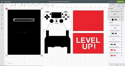 Game Controller Card cut file in Cricut Design Space