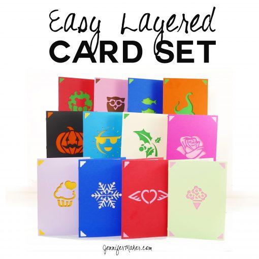 DIY Greeting Card Set - Fast, Easy Layers! | Cricut | Free Cut Files