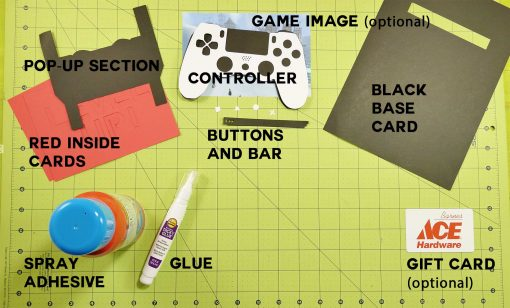 Materials for the Pop-Up Game Controller Card