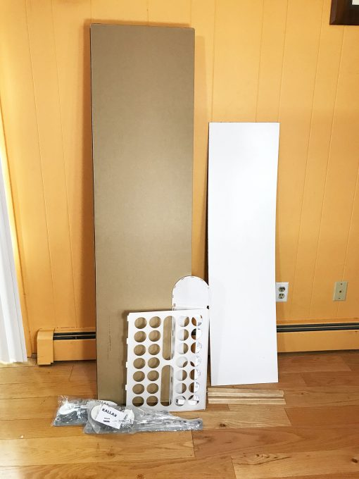 IKEA Kallax ready to be assembled for the 12x12 vertical paper storage tower