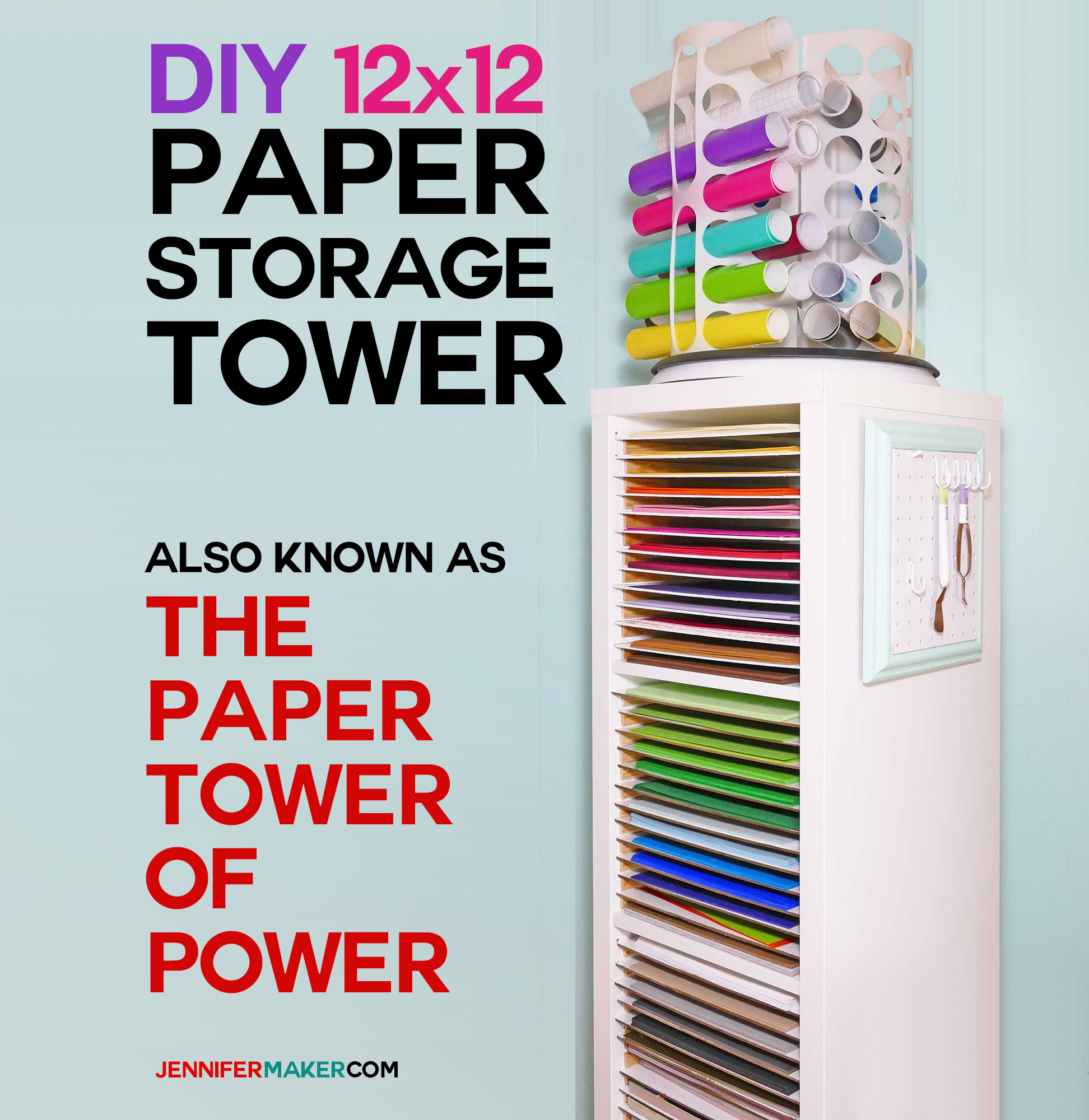 DIY 12x12 Vertical Scrapbook Paper Storage Organizer Tower