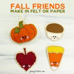 Fall Friends: Felt Ornaments and Paper Cards | Pumpkin | Candy Corn | Leaf | Acorn | Free Pattern | Free SVG Cut Files