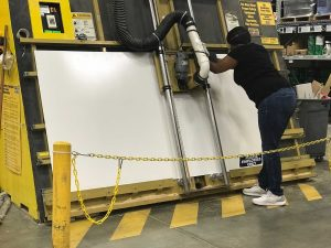 Getting a board cut on a panel saw at Lowes