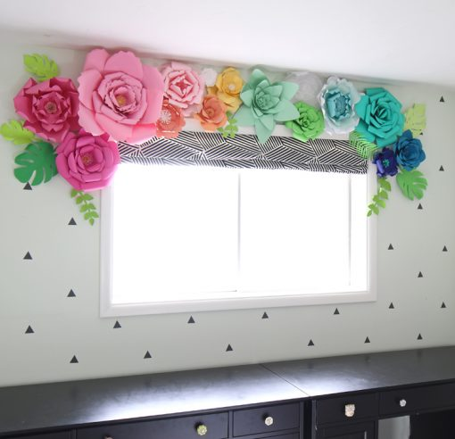 Paper flower projects the best tutorials jennifer maker paper flower window valance over the window paper flower projects ideas mightylinksfo