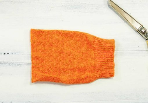 Cut your sweater to size for your pumpkin