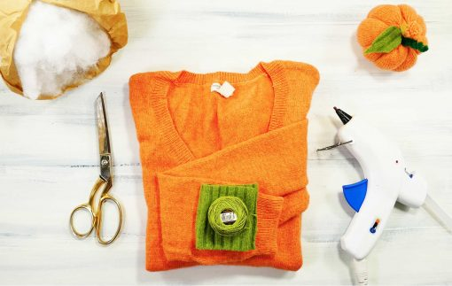 Materials needed for sweater pumpkins