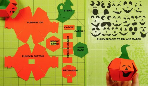 Paper pieces needed to make the pumpkin paper bomb