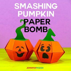 How to Make a Smashing Pumpkin Paper Bomb Pop-Up Papercraft | Free Pattern and Files | Cricut