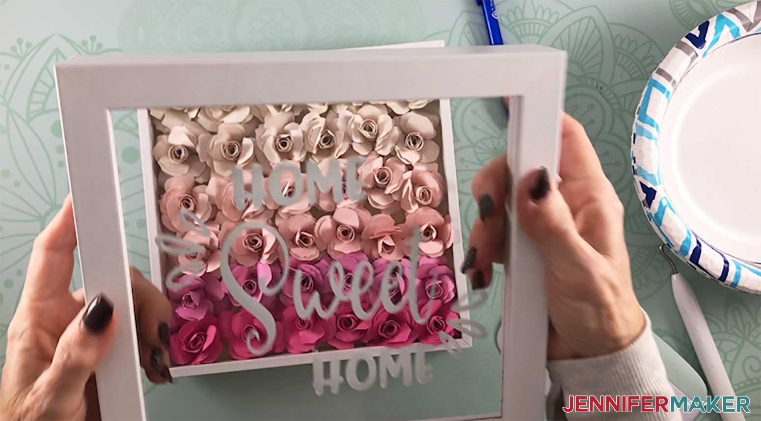 Assembly the paper flower shadow box