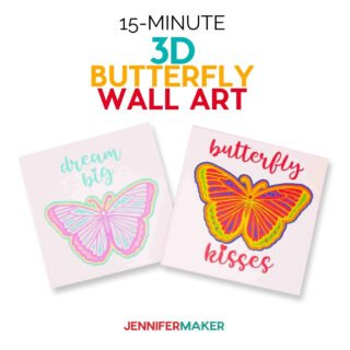fast and easy finished butterfly wall art using Cricutl