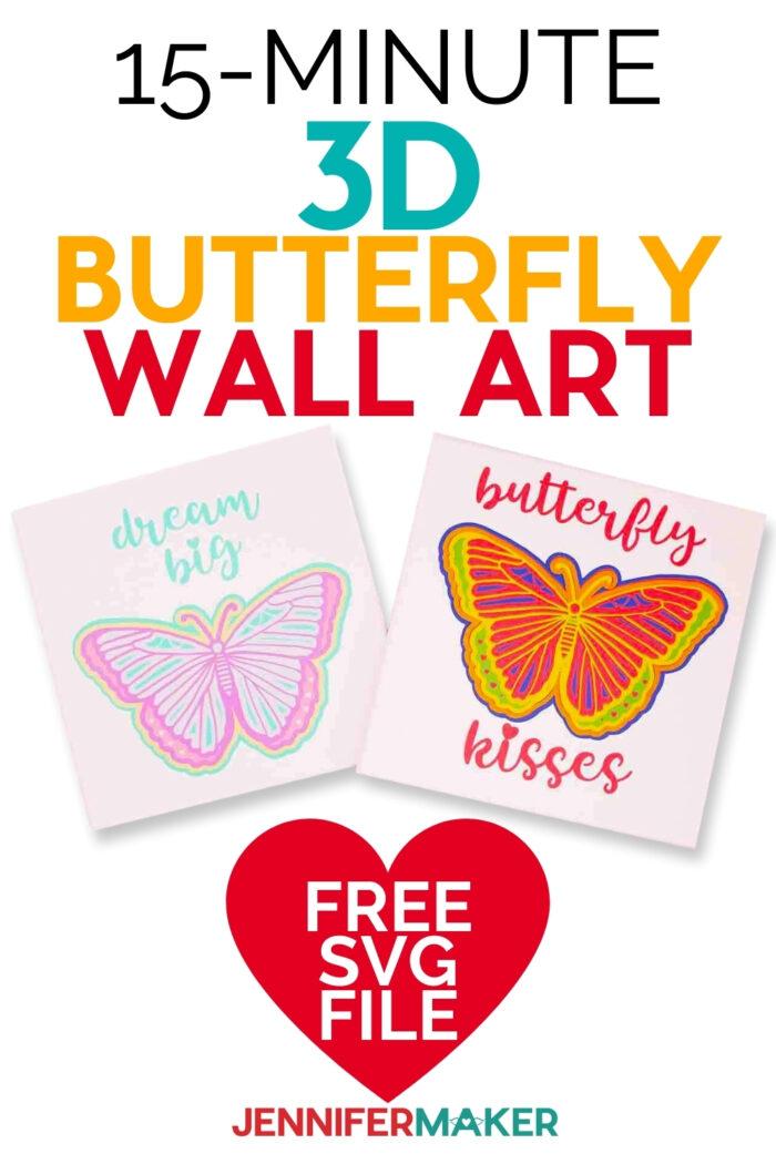 15 minute easy butterfly wall art using Cricut #15minutecrafts #Cricut #diyhomedecor