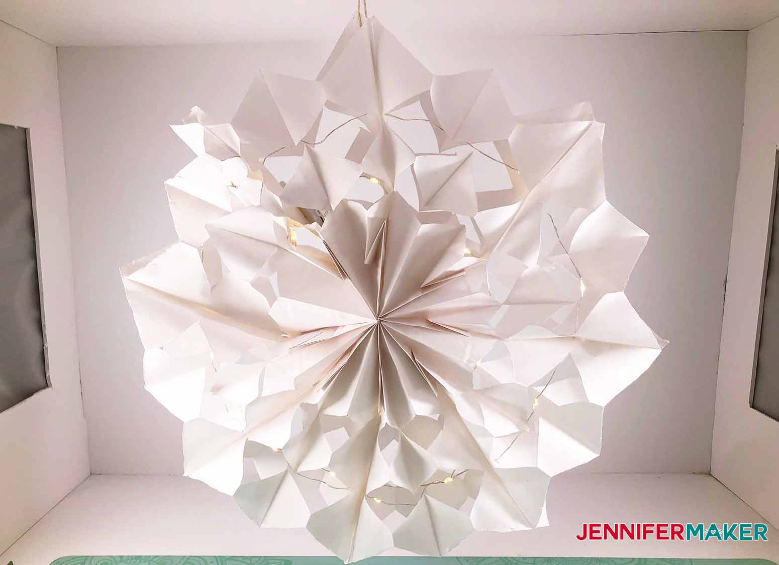 finished paper bag snowflake for my 3D Snowflake