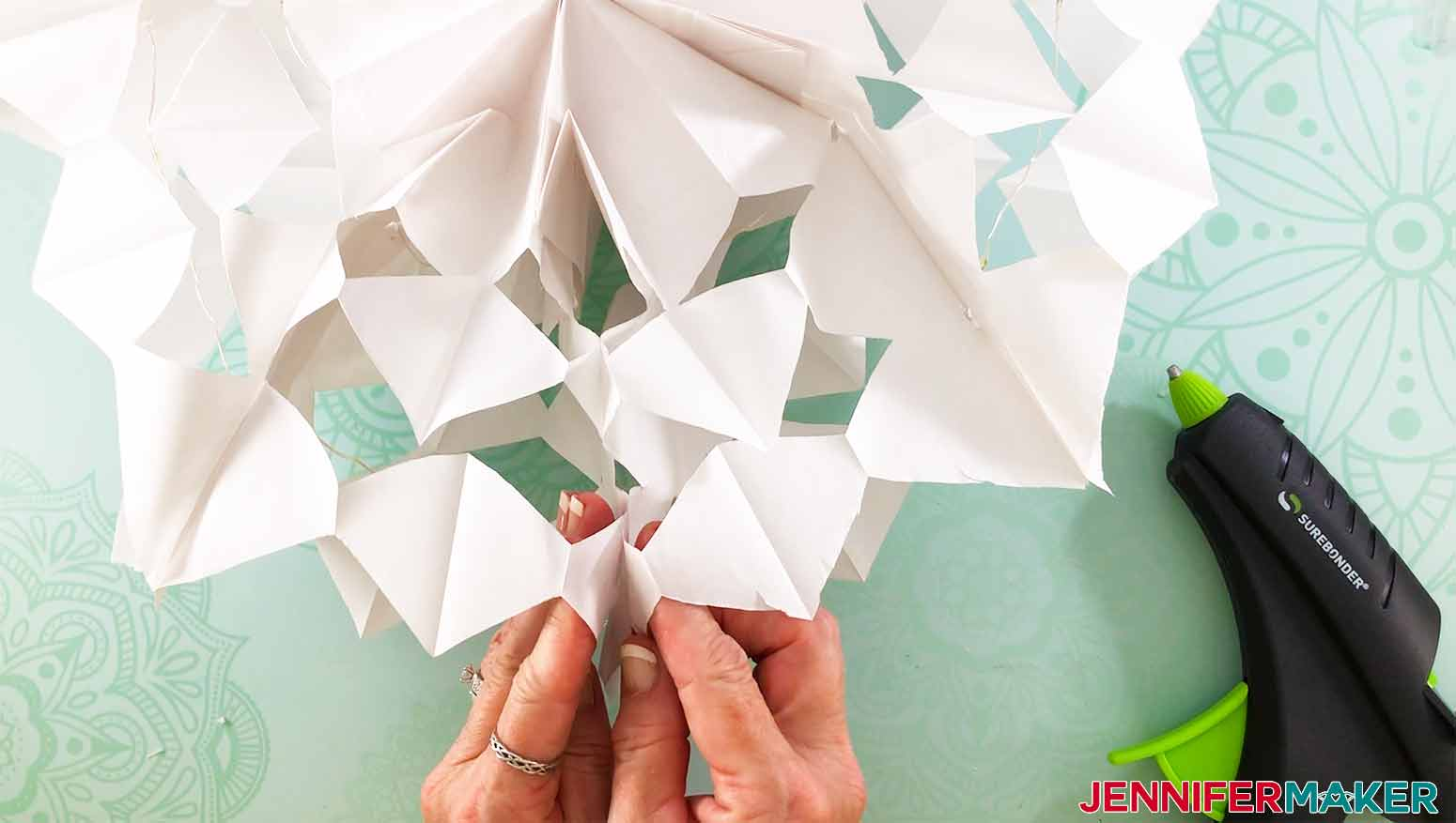 glue the ends together once fanned out for my 3D Snowflake