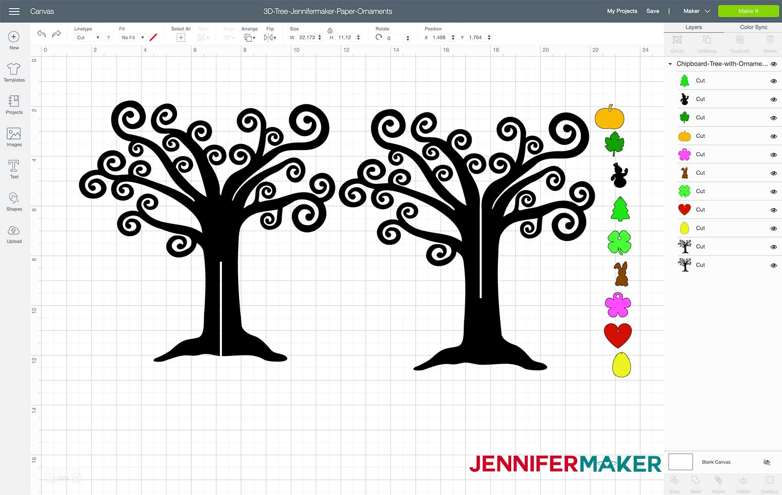 my 3D tree design uploaded to Design Space