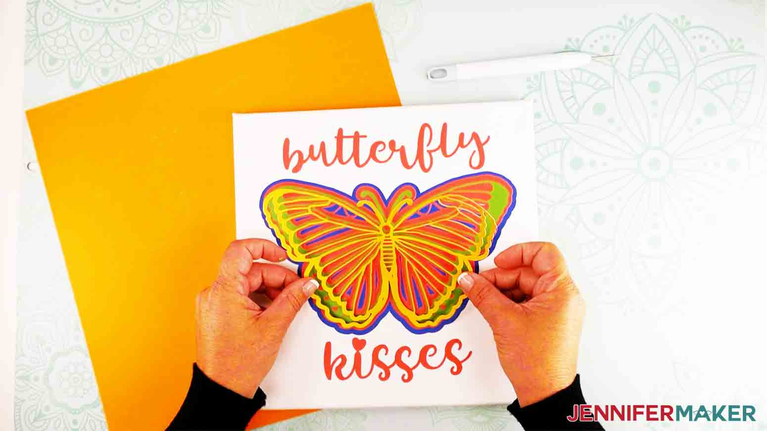 adding top layers to 3d butterfly wall art