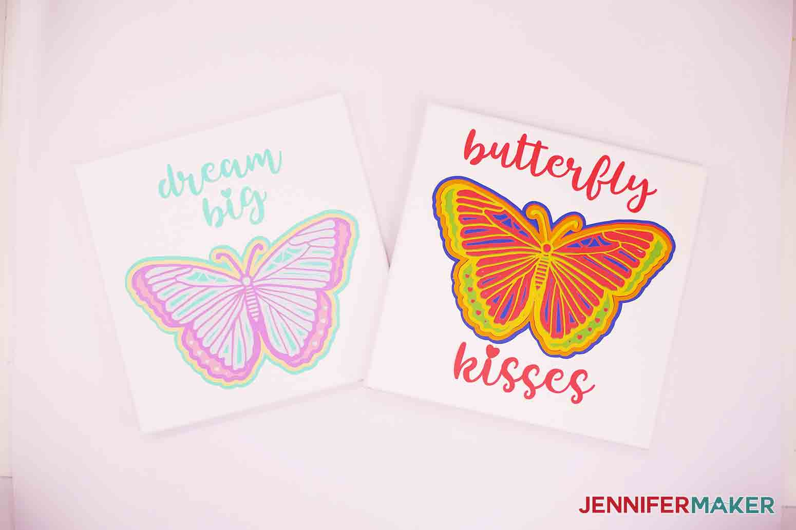 two side by side canvases of 3d butterfly wall art in rainbow and pastel colors