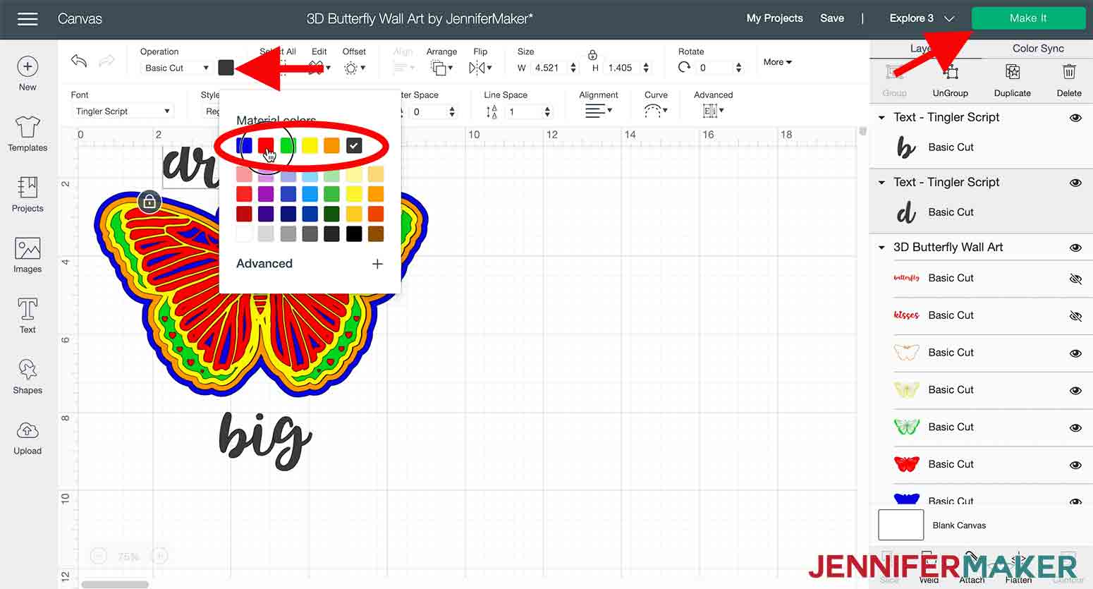 arrow pointing to color picker box where you can change text color in design space in 3d butterfly wall art project