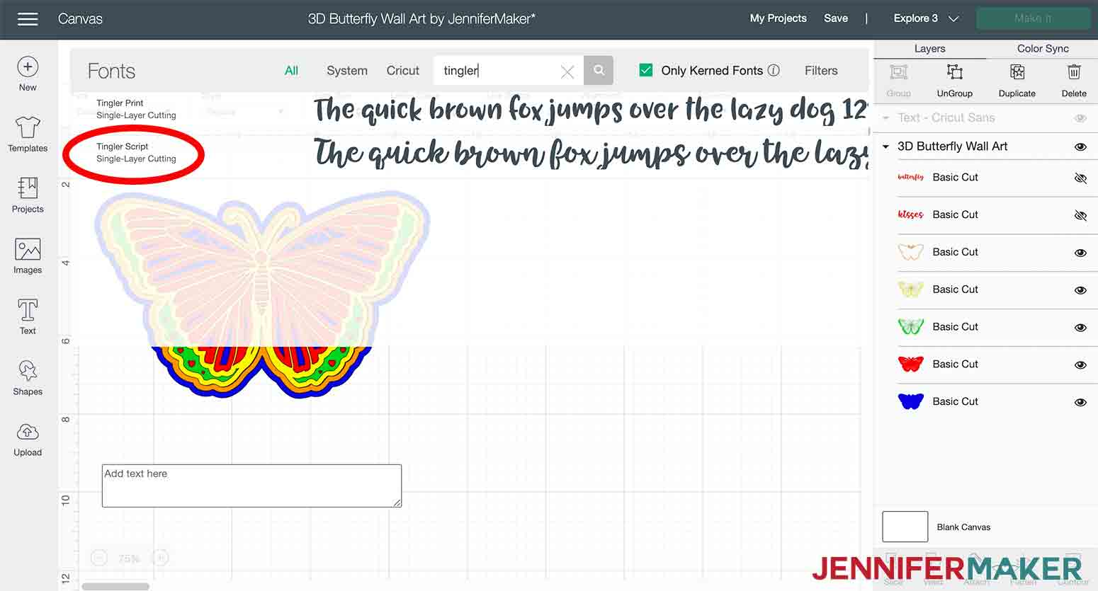 Showing how to change font in Cricut Design Space in 3D butterfly wall art