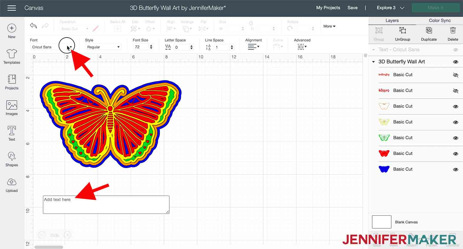 arrow pointing to font dropdown box in 3D butterfly wall art project