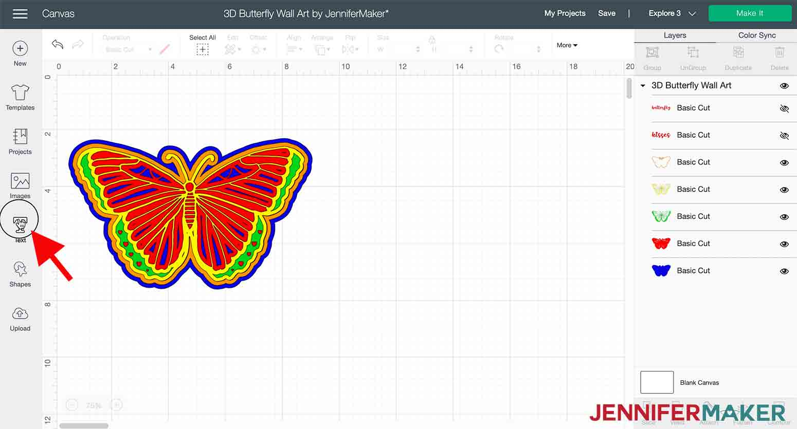 arrow pointing to text box to change text in 3D butterfly wall art