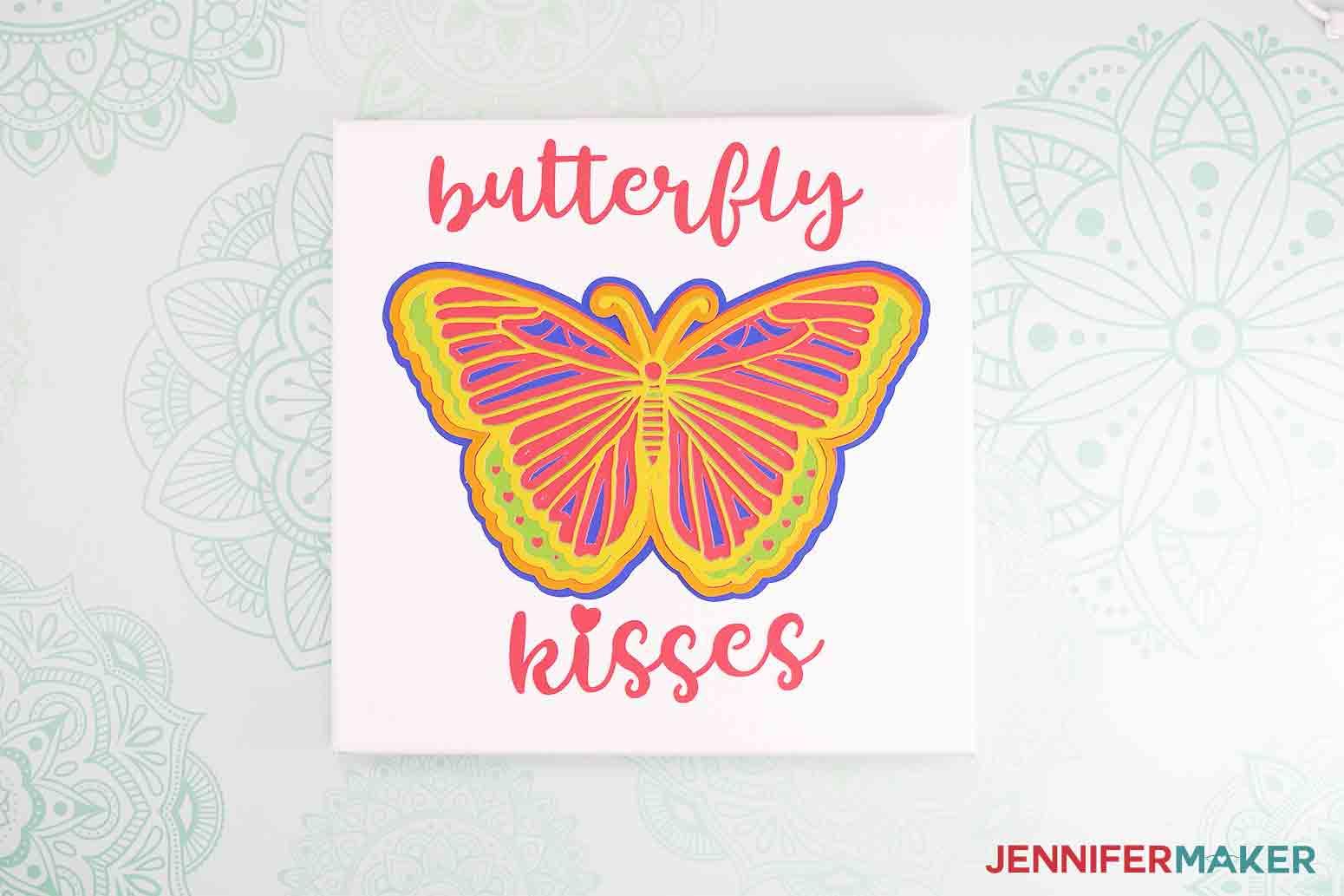 close up shot of 3d butterfly wall art