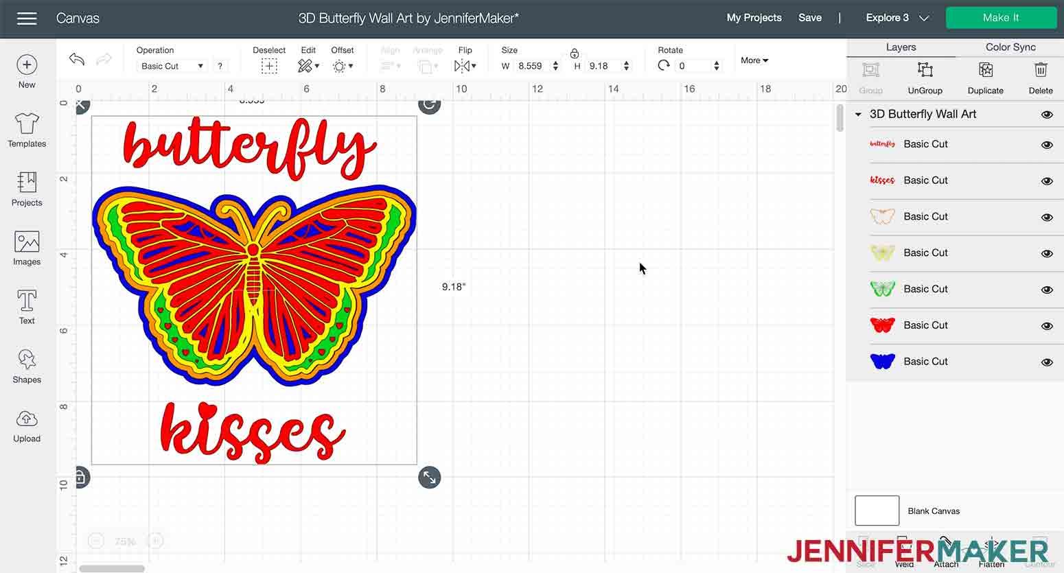 3D butterfly wall art in Cricut Design Space