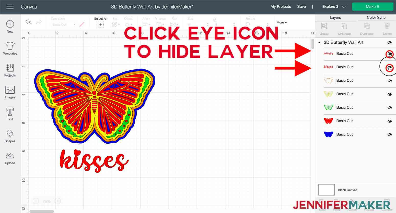 arrows pointing to eye icon to hide text in 3D butterfly wall art