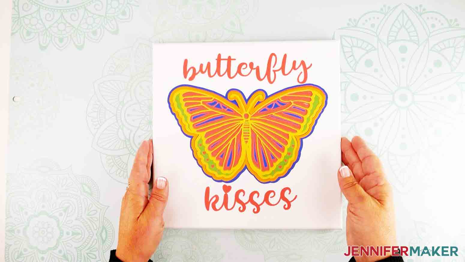 showing off finished 3d butterfly wall art