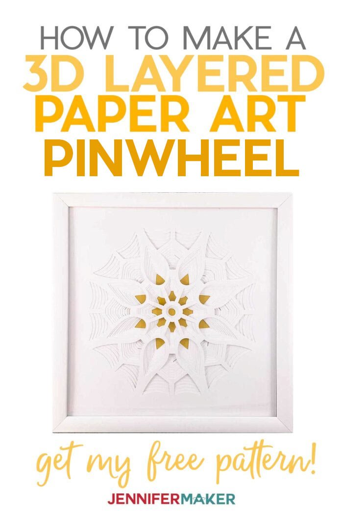 Make a 3D Layered Paper Cut Pinwheel with white cardstock in a white frame with our free SVG cut file #papercraft #3d #homedecor #cricut