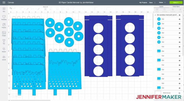 A 3D paper candle menorah SVG cut file uploaded to Cricut Design Space