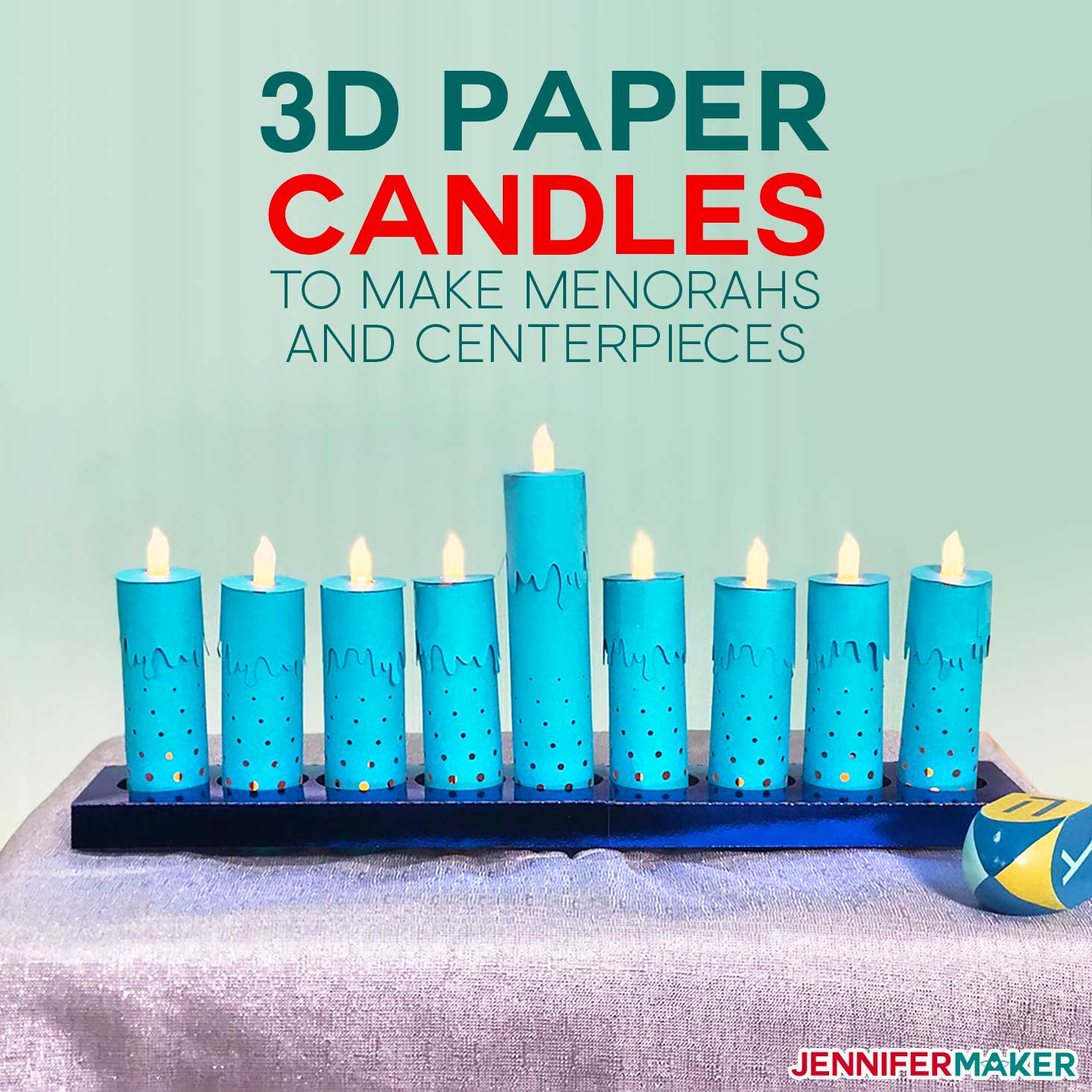 How to Make 3d Paper Candles for Hanukkah Menorah and Holiday Centerpieces on your Cricut | diy home decor #cricut #hanukkah #menorah
