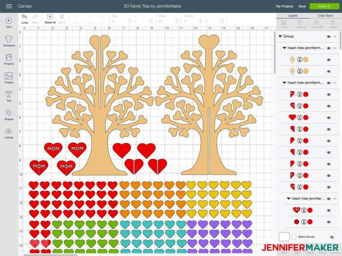 The 3D Family Tree File uploaded in Cricut Design Space