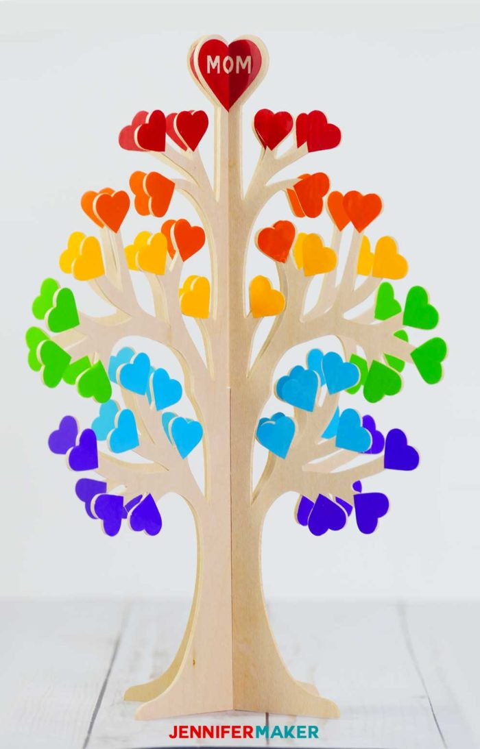 Make a 3D Family Tree from Wood or Paper with Rainbow Hearts
