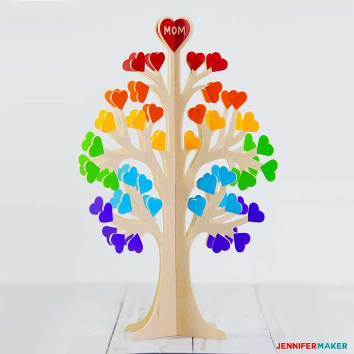 3D Family Tree from Wood or Paper | #cricutmaker #basswood #rainbow #diy | A Great Cricut Maker Project