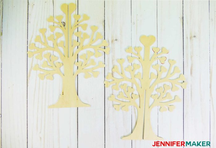 Basswood tree pieces that turn into a 3D family tree