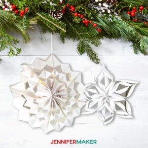 Easy Giant Paper Snowflakes made with paper bags and cardstock