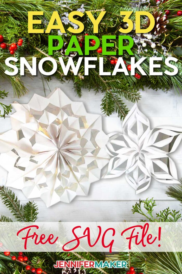 Easy Giant Paper Snowflakes made with paper bags and cardstock #cricut #papercraft #christmas