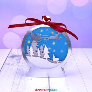 3D layered ornament for Christmas - Santa's Sleigh